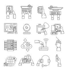 It devices icons line vector