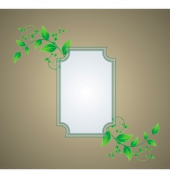 Retro background with a frame with green leaves vector