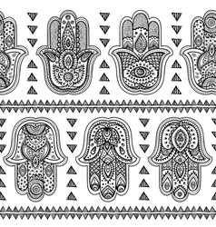 Indian hand drawn hamsa seamless pattern vector
