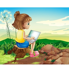 A girl surfing the net while sitting above a stump vector
