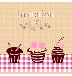 Invitation card with cakes vector