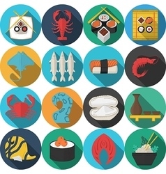Flat round icons for seafood vector