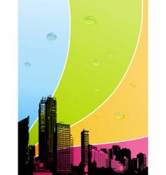 City with color background vector