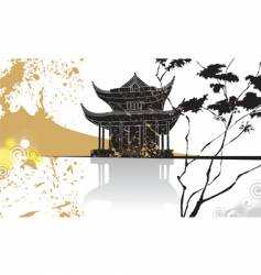 Chinese pagoda abstract background vector