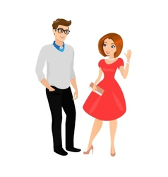 Young man and woman isolated vector