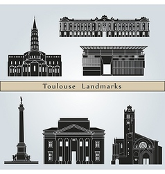 Toulouse landmarks and monuments vector