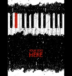 Grunge piano key vector