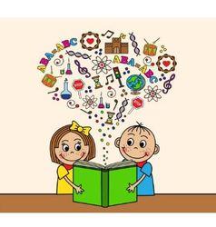 Cartoon children read a book vector