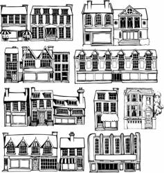 Town buildings vector