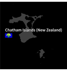 Detailed map of chatham islands with flag on black vector