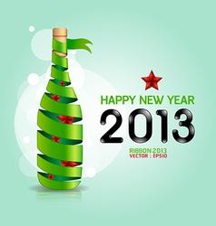 Happy new year 2013 ribbon wine bottle shape vector