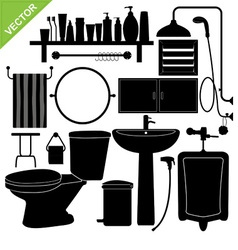 Bathroom silhouette vector