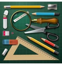 Colorful school supplies vector