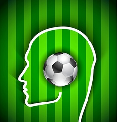 Human head with soccer ball vector