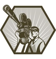 Vintage movie television film camera director vector