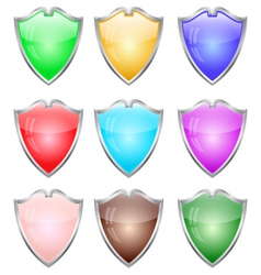 Steel shields in different colors vector