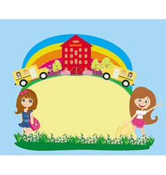 School bus and schoolgirls - place for your text vector