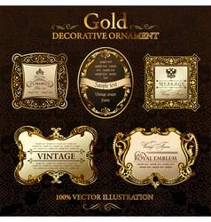 Vintage decor frames gold ornament label vector