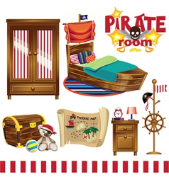 Pirate room set vector