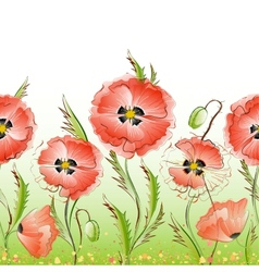 Red poppy flowers seamless texture vector