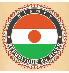Vintage label cards of niger flag vector