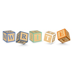 Word write written with alphabet blocks vector
