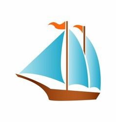 Sailing boat logo icon vector