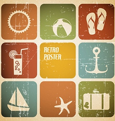 Summer poster made from icons vector