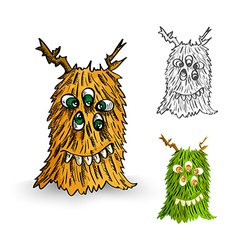 Halloween monsters spooky isolated creatures set vector