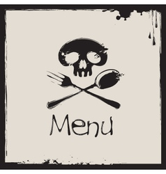 Menu with a human skull vector