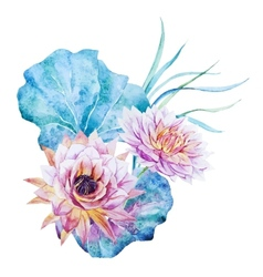 Watercolor lotus vector