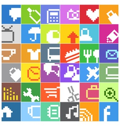 Modern social media color buttons interface icons vector