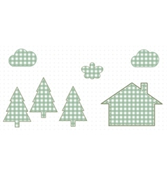 House in the woods cute baby style vector
