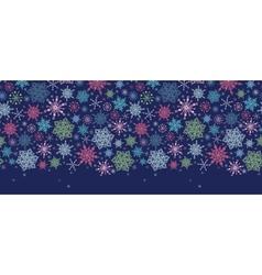 Snowflakes on night sky horizontal seamless vector