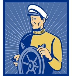 Sea ship captain at the helm steering wheel vector