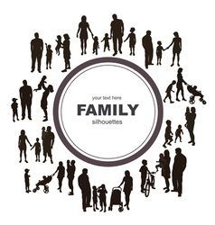 Frame with family silhouettes vector