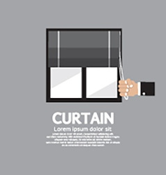 Roman curtain on window vector