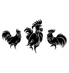Set of cocks silhouettes vector