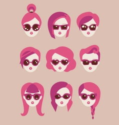 Fashion girls in glasses icon set vector