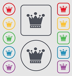 Crown icon sign symbol on the round and square vector