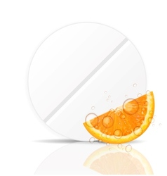 Orange pill iconenvironment background vector