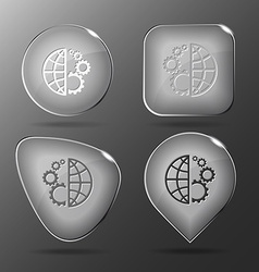 Globe and gear glass buttons vector