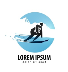 Skier logo design template skis or sports vector