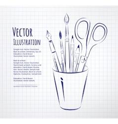 Brushes pen pencils and scissors in holder vector