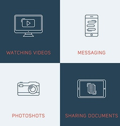 Set of modern thin line icons watching videos vector