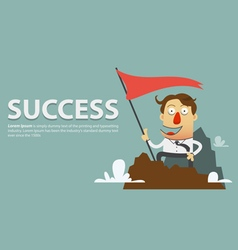 Businessman planting success flag vector