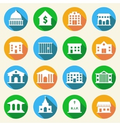 Government buildings icons flat vector