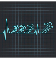 Heartbeat make running men vector
