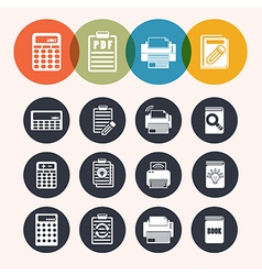 Collection circle series icons calculator notepad vector