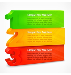 Three colored number banners vector